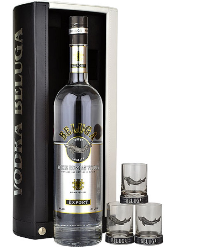 Beluga Gold Line Russian vodka with leather case and 3 glasses gift pack
