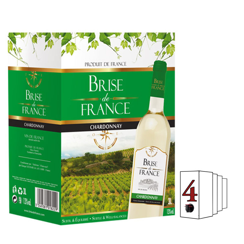 Brise de France Chardonnay Francie 3L Bag in Box