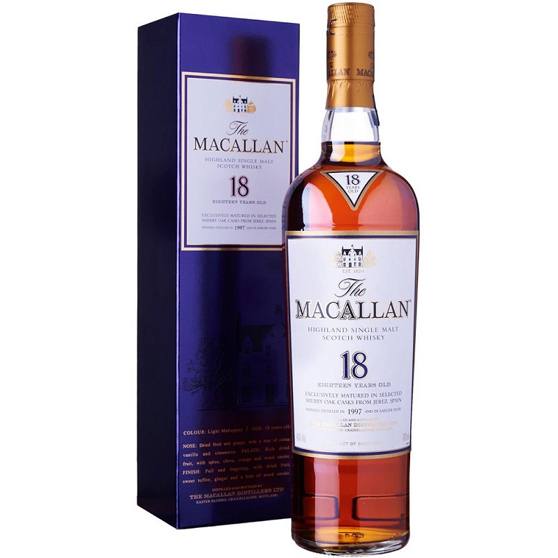 The Macallan 18 Year Old Sherry Oak Single Malt Scotch Whisky 0,7