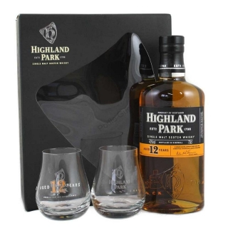 Highland Park 12 yo 2glass pack single malt Orkney whisky 0,7