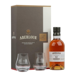 Aberlour 12 Year Old Non Chill-Filtered Whisky 2 glasses gift set