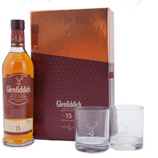 Glenfiddich 15 Year Old Glass Gift Pack whisky 0,7