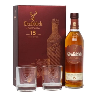 Glenfiddich 15 Unique Solera Reserve Single Malt 2 Glass Gift set whisky 0,7