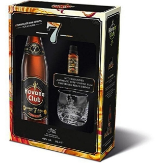 Havana Club Anejo 7 Anos Glass Gift Pack + Essence aromatic leaf rum 0,7