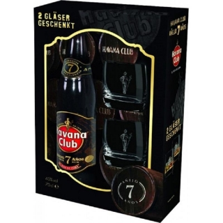 Havana Club Anejo 7 Anos 2 Glass Gift Pack rum 0,7