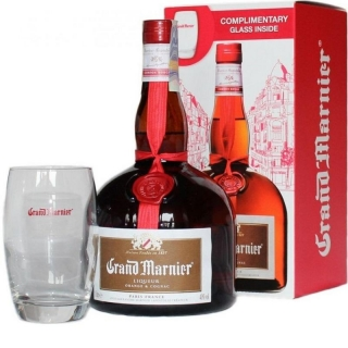 Grand Marnier Cordon Rouge Premium French Orange & Cognac Glass Pack liquer 1l